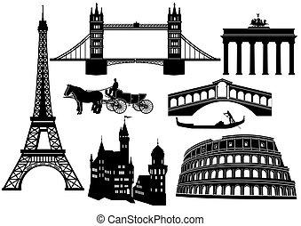 europa, huvudsaklig, städer, synen