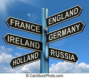 europa, inghilterra, signpost, viaggiare, francia, germania, irlanda, mostra, turismo, destinazioni