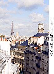 europa, invalides, latim, vizinhança, paris, residencial, eiffel, cúpula, frança, telhados, torre, quarto, vista