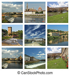 europa, italia, collage, toscana, imágenes, florencia, río arno
