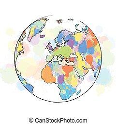 europa, kaart, globe, kleurrijke