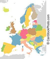 europa, kaart, kleurrijke
