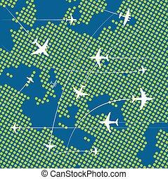 europa, kaart, op, vliegen, vliegtuigen, abstract