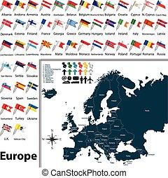 europa, kaart, politiek