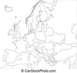 europa, kaart, schets