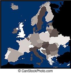 europa, kaart, secretarieel