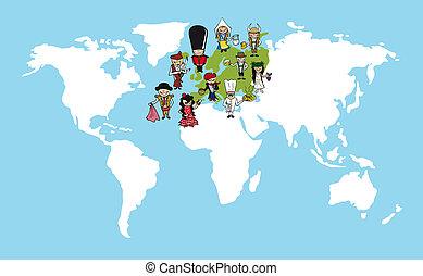 europa, kaart, verscheidenheid, illustration., mensen, stripfiguren, wereld