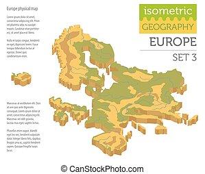europa, karta, isometric, elementara, fysisk, konstruktör, isolerat, kollektion, äga, white., infographics, bygga, 3, din, geografi