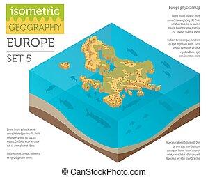 europa, karta, isometric, elementara, fysisk, konstruktör, kollektion, surface., vatten, äga, bygga, infographics, 3, din, geografi