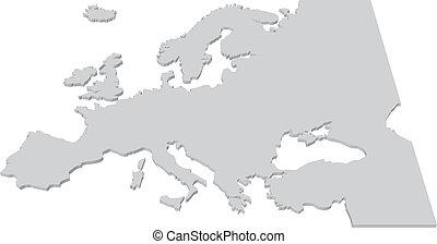 europa, karta, land, svart, vit, 3
