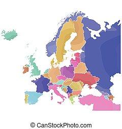 europa, karta, politisk