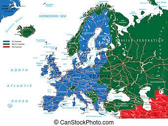 europa, karta, väg