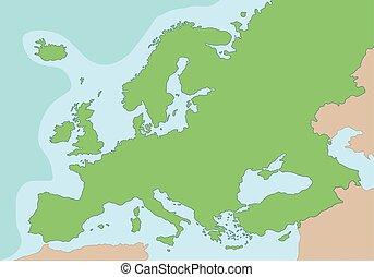 europa, karta, vektor, illustration, fysisk
