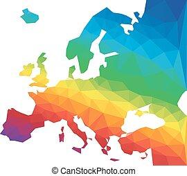 europa, karta, vektor, polygon