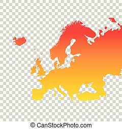europa, kleurrijke, map., illustratie, vector, sinaasappel