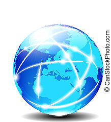 europa, komunikacja, globalny, planeta