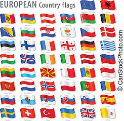 europa, krajowy, wektor, komplet, bandera