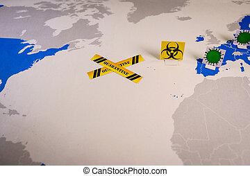 europa, krzyż, mapa, usa, kwarantanna, między, świat