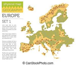 europa, lägenhet, elementara, karta, konstruktör, isolerat, kollektion, äga, white., infographics, bygga, fysisk, din, geografi