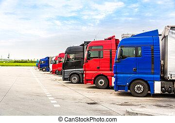 europa, lading, parkeren, vervoer, vrachtwagens