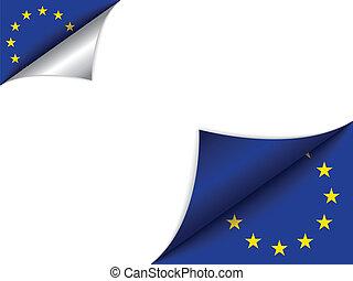 europa, land, vlag, draaiende pagina