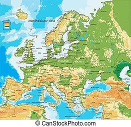 europa, -, lichamelijk, kaart