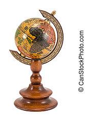 europa, madeira, globo, áfrica, isolado, branca, vista