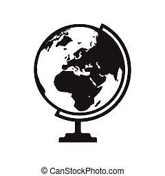 europa, mapa, áfrica, globo, -, ilustración, vector, asia, icono