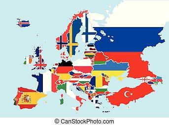 europa, mapa, barwny, kraj, bandery, każdy