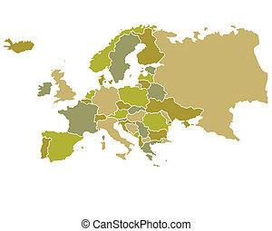 europa, mapa, con, países, contorneado
