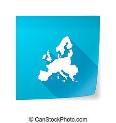 Europa, mapa, długi, lepki, nuta, Wektor, cień, Ikona