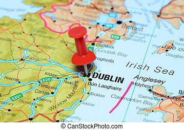 europa, mapa, dublín, fijado