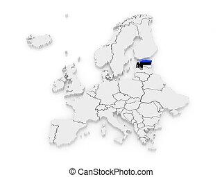 europa, mapa, estonia.