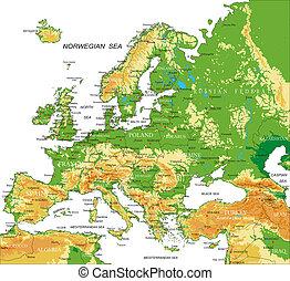 europa, mapa, -, físico