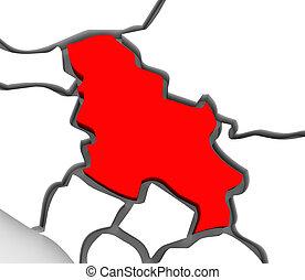 europa, mapa, główny, południowy, abstrakcyjny, serbia, ...