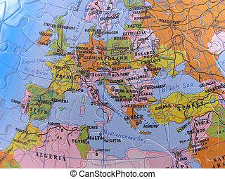 europa, mapa, globo, -, quebra-cabeça
