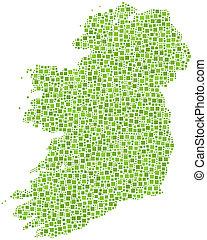 europa, mapa, -, irlandia