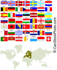 europa, mapa, kraj, ilustracja, wektor, flags.