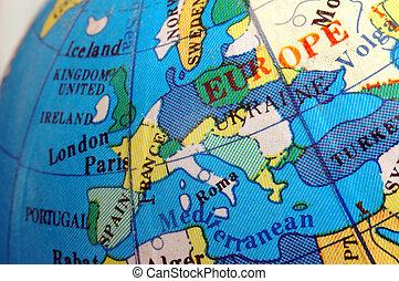 europa, mapa, ligado, pequeno, globo terrestre