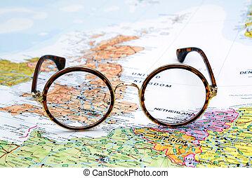 europa, mapa, -, londres, anteojos