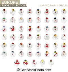 europa, mapa, países, collection., bandeira, círculo