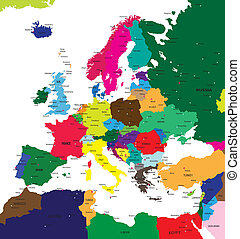 europa, mapa, polityczny