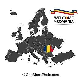 europa, mapa, romania, stan, romanian, wygląd, odizolowany, ilustracja, bandera, wektor, tło, biała wstążka