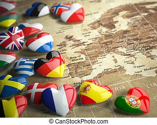 Europa, mapa, viaje, Países, banderas,  EU, Corazones, concepto, europeo