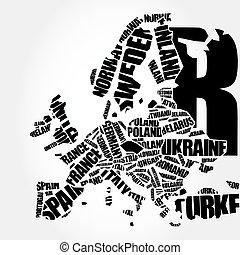europa, mapa, w, typografia, słowo, chmura