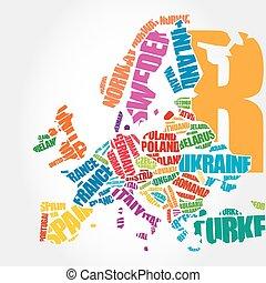 europa, mapa, w, typografia