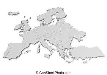 europa, mappa, -, 3d