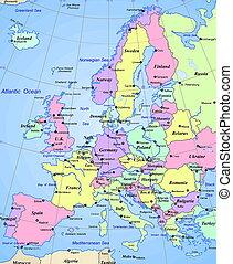 europa, mappa, continente