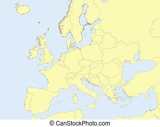 europa, mappa, giallo