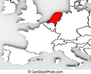europa, mappa, netherland, paese, astratto, continente, 3d